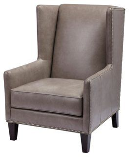 Dorian Leather Wingback Chair, Pebble