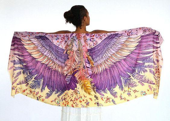 Scarves – Wings scarf, bohemian bird feathers shawl in BLUSH – a unique product by Roza-Khamitova via en.DaWanda.com #boho