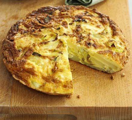 Cheese, leek & potato tortilla. A quick, thick Spanish omelette that's a brilliant way to use up leftover potatoes and cheese with eggs