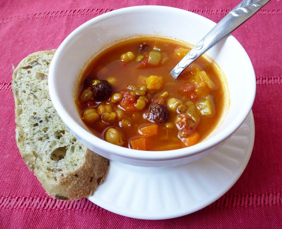 Moroccan Lentil and Chickpea Stew with Raisins and Apricots