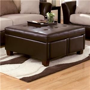 Durahide Bicast Brown Square Tufted Faux Leather Ottoman With 4 Storage Drawers By Ashley
