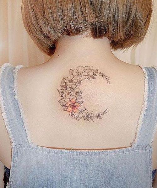 Stunning Flower Moon Tattoos On Back For Women Moon Tattoo Designs Tattoos Korean Tattoos