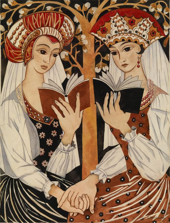 Two Russian Maidens (1920). Natalia Sergeevna Goncharova (Russian, 1881-1962). Pencil, watercolour and gouache on paper.: