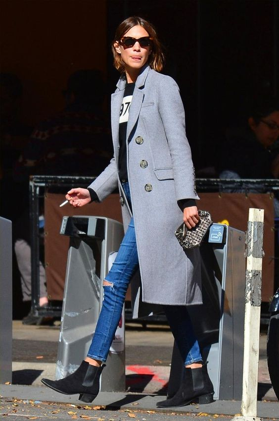 Alexa Chung wearing Penelope Chilvers Cubana Boots, Burberry Prorsum Cashmere-Felt Coat and Bella Freud 1970 Merino Wool Sweater
