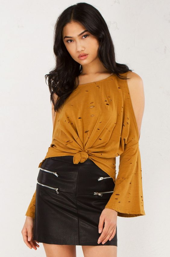 Distressed Shoulder Cut Out Top in Camel