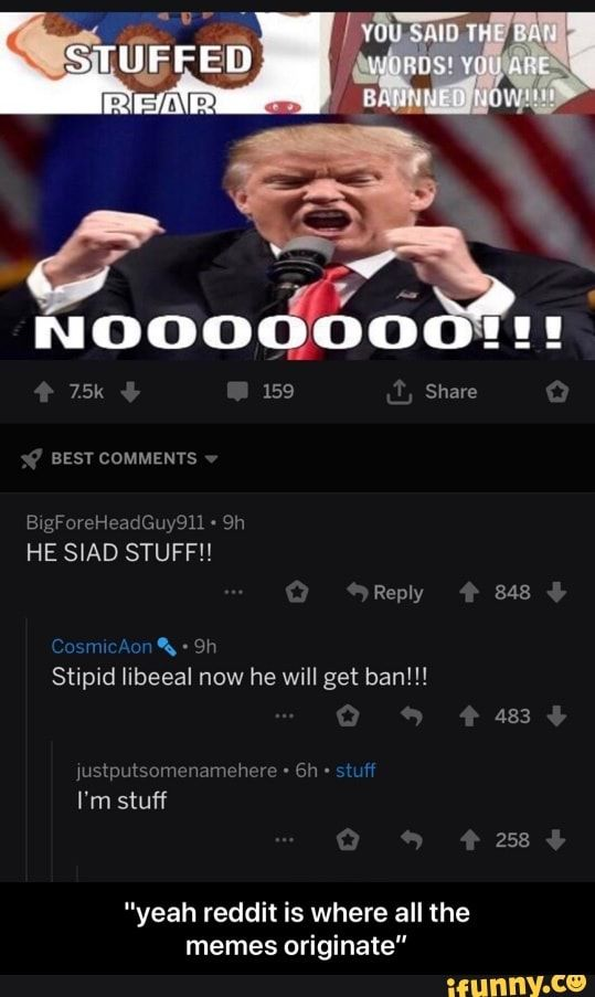 Reddit Is Where All The Memes Originate S Stipid Libeeal Now He Will Get Ban Yeah Yeah Reddit Is Where All The Memes Originate Ifunny Memes Reddit Ifunny