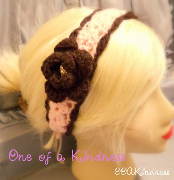 Lacy Pink & Black Acrylic Crochet Headband with Black Flower with Rhinestone Button Center, with ties, $15 @ Etsy, OOAKindness, one of my latest & favorite additions to my shop.