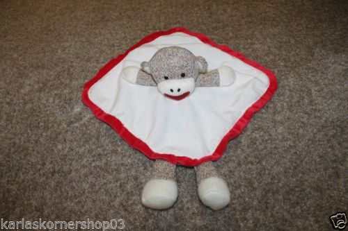 """Excellent used condition Baby Starters Sock Monkey White & Red Security Blanket Lovey 12"""" X 12"""" No rips or stains Colors are red, white and brown 12"""" X 12""""  Returns accepted if not 100% satisfied ( No hassle return policy)  *Returned in same condition you received it in.  *I pay for returned shipping if it is my fault  *If it is your fault you pay for returned Shipping    FAST SHIPPING!!!."""