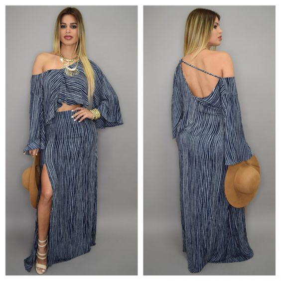 All :: Dresses :: Paulina Boho Striped Linen Set