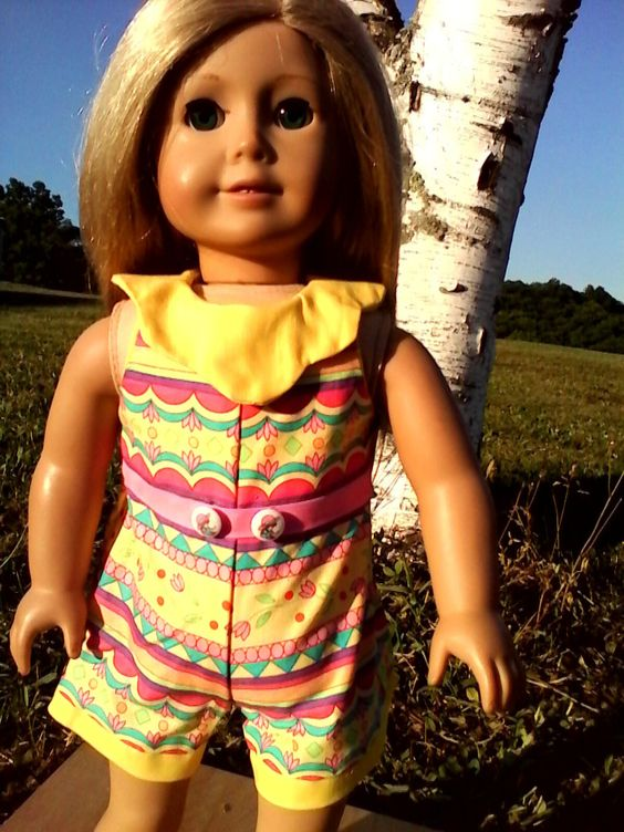 "SHORTS ROMPER in a fun and bright material.  Made to fit American Girl Dolls and other 18"" dolls. by DollFashionsbyJanet on Etsy"