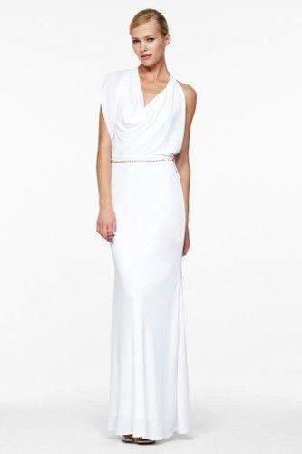 *NEW* BCBG White Draped Jersey Gown XXS $328 LMR6L564 | eBay