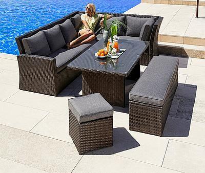 Merxx Gartenmobelset Mallorca 17 Tlg 2x 3er Sofa Bank Hocker Tisch 150x85 Polyrattan Online Shop Merxx Gartenmobelse Banco De Vime Vime Area Gourmet