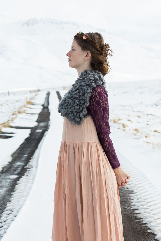 Lace shirt and knit shoulder pads by Claire Buyens with Refunktion vintage prairie dress.  Photographed in Snaefellsnes Peninsula by Karim Iliya.  #fashion #winter #iceland #gameofthrones #clairebuyens #refunktion #karimiliya #karimphotography #snaefellsnes #fairyland #fairies
