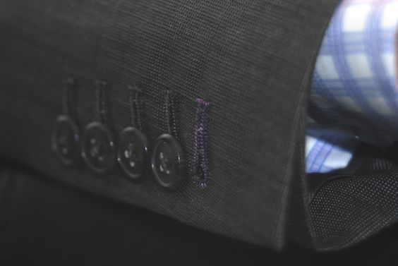 Colored Thread Buttonhole details. Jacket and Shirt by Beckett & Robb