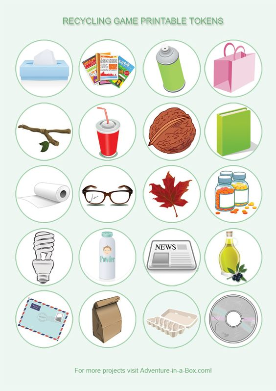 Free Printable recycling game. What bin do these items go into? Play the free printable recycling game to introduce kids to the basics of recycling or as an educational Earth Day activity.: