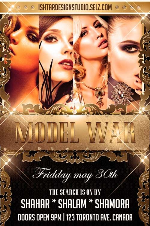 Free Model War Flyer Template - http://freepsdflyer.com/free-model-war-flyer-template/ This Model War Flyer Template was designed to promote your next elegant Club, DJ and party events. This print ready free flyer template includes a 300 dpi print ready CMYK file. All main elements are editable and customizable.   #Classy, #Club, #Dance, #Dj, #EDM, #Elegant, #Event, #Girls, #Gold, #House, #Model, #Nightclub, #Party, #Sexy