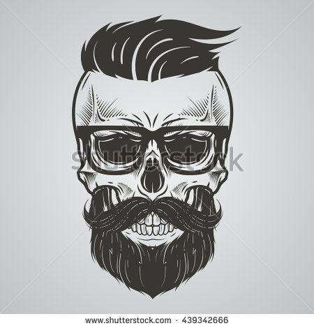 Bearded skull illustration | Proyectos que intentar ...