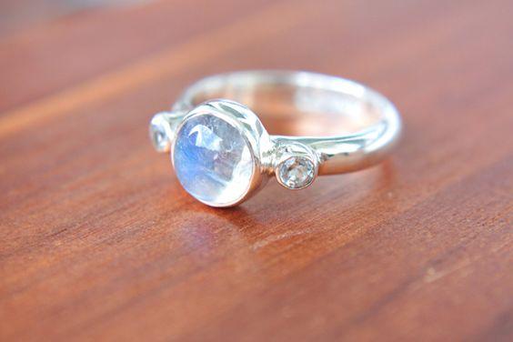 Moonstone and white topaz ring