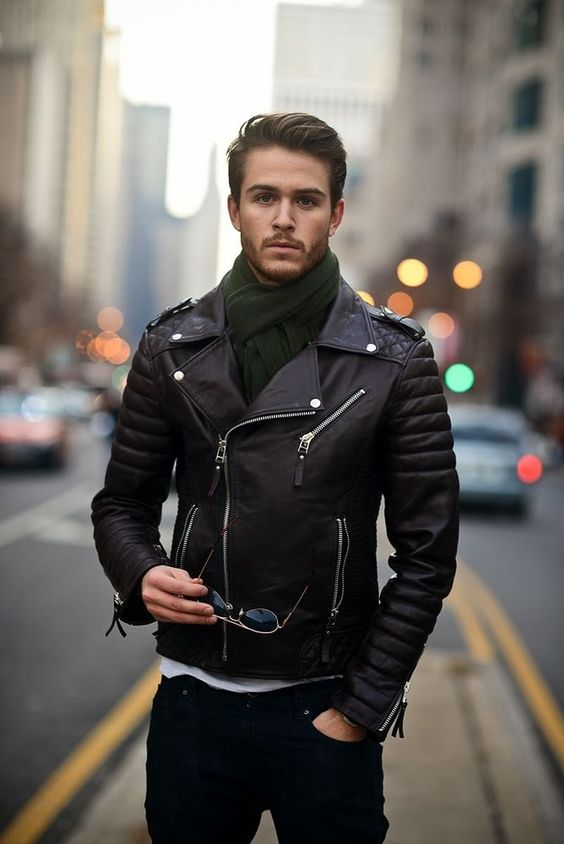 This leather jacket outfit for men is a great way to accessorize!