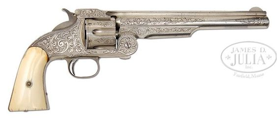 """Scarce Smith & Wesson Engraved Commercial 1st Model Russian Single Action Revolver. .44 Russian caliber nickel finish and 8"""" barrel with about 80% coverage engraving. Beautiful smooth ivory stocks."""