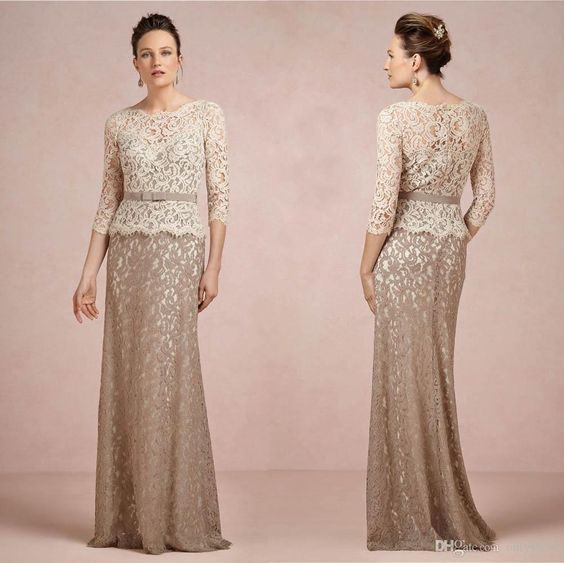 Two Piece Lace Mother of the Bride Dresses Formal Bateau 1/2 Long ...