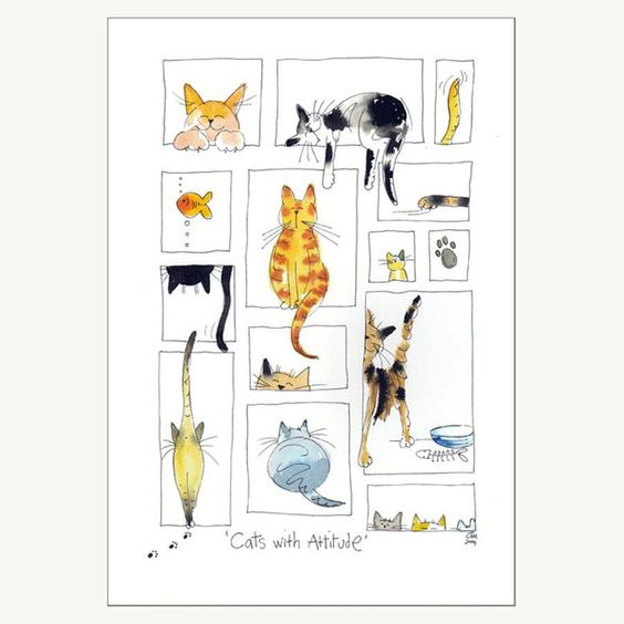 cats with attitude print by jill latter | notonthehighstreet.com