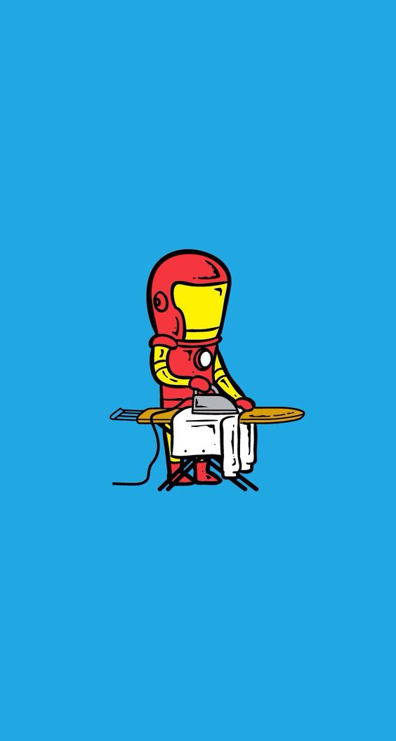Iron Man Maid ironing for his girlfriend. Download all Superheroes Part Timer iPhone Wallpapers! - parallax backgrounds. Marvel #AvengersAgeOfUltron #Avengers #superheroes tony stark part time job - @mobile9