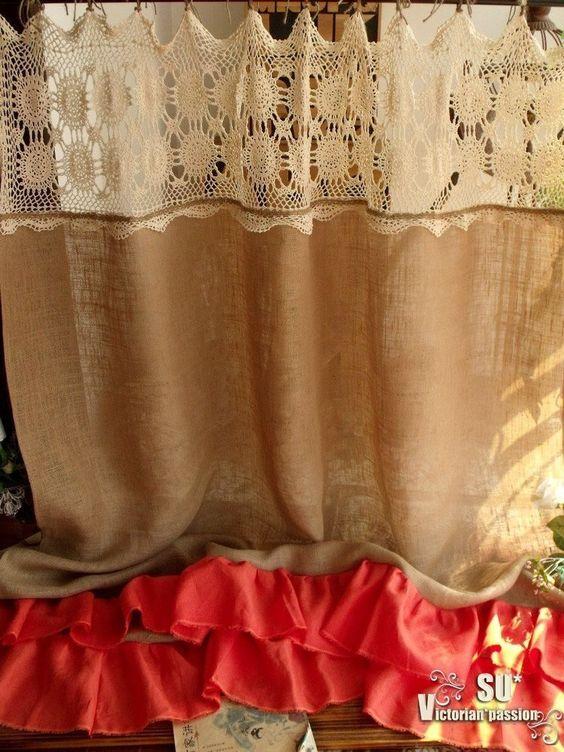 Details about CREAM HAND Crochet SHABBY Rustic Chic Burlap SHOWER ...