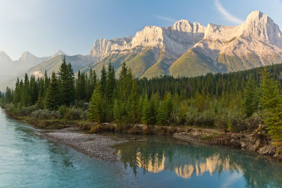 Sunrise from along the Bow River in Canmore, Alberta, Canada