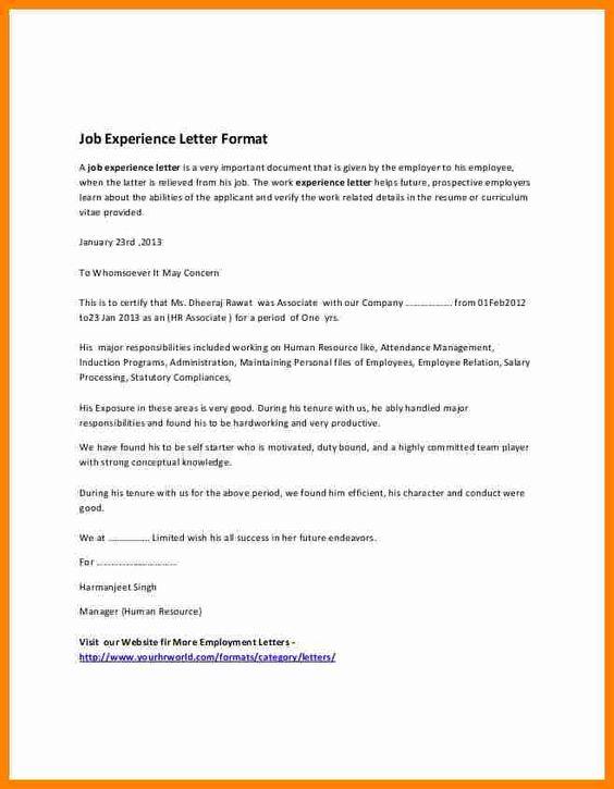 Work Experience Certificate Sample Pdf Job Resumed Employment