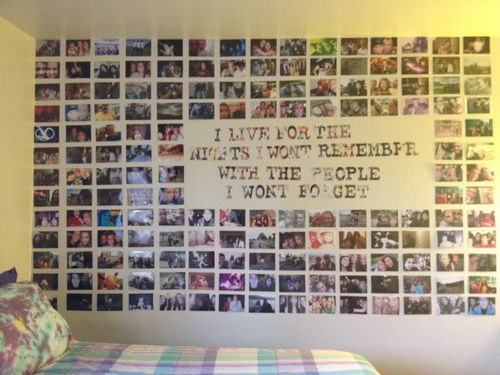 Photo collage on wall without frames google s gning for Bedroom ideas hanging pictures