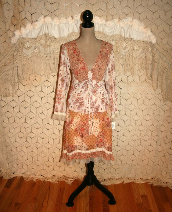 Vintage Orange Brown Paisley Floral Dress Chiffon by MagpieandOtis