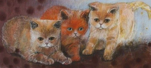 """Three kittens"" - Pastel drawing by Dutch artist Loes Botman"