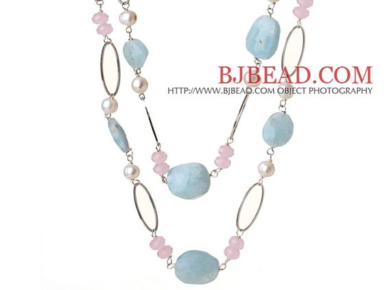 Beautiful Long Style Natural Irregular Aquamarine and White Pearl Pink Crystal Necklace----$42.21