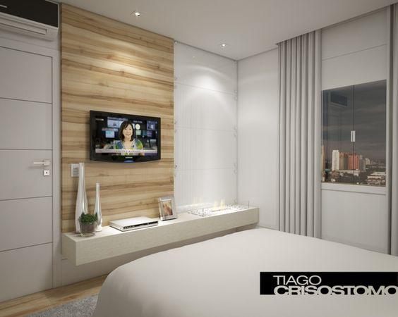 quarto clean de casal Dormitório Pinterest  ~ Quarto Planejado Casal Pequeno Com Tv