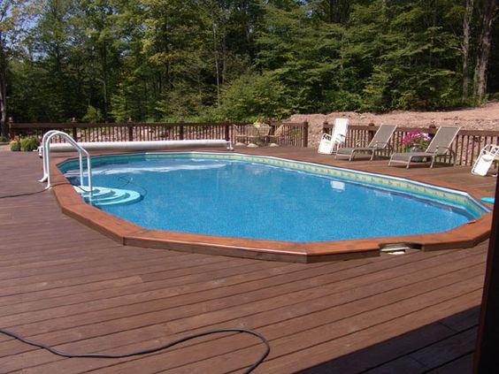 Semi inground pools pool custom deck fence kits pool for Above ground pool decks tampa