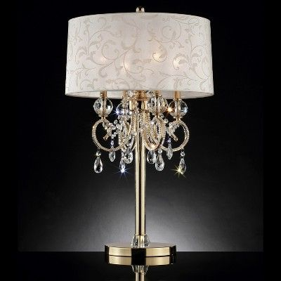 32 5 Antique Metal Floor Lamp With Crystals Includes Cfl Light Bulb Gold Ore International Crystal Table Lamps Lamp Chandelier Table Lamp