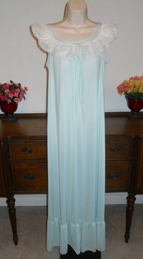 Vintage 1960's Miss Elaine Long Nightgown ~ Baby Blue Silky Nylon ~ Ruffled Hem…