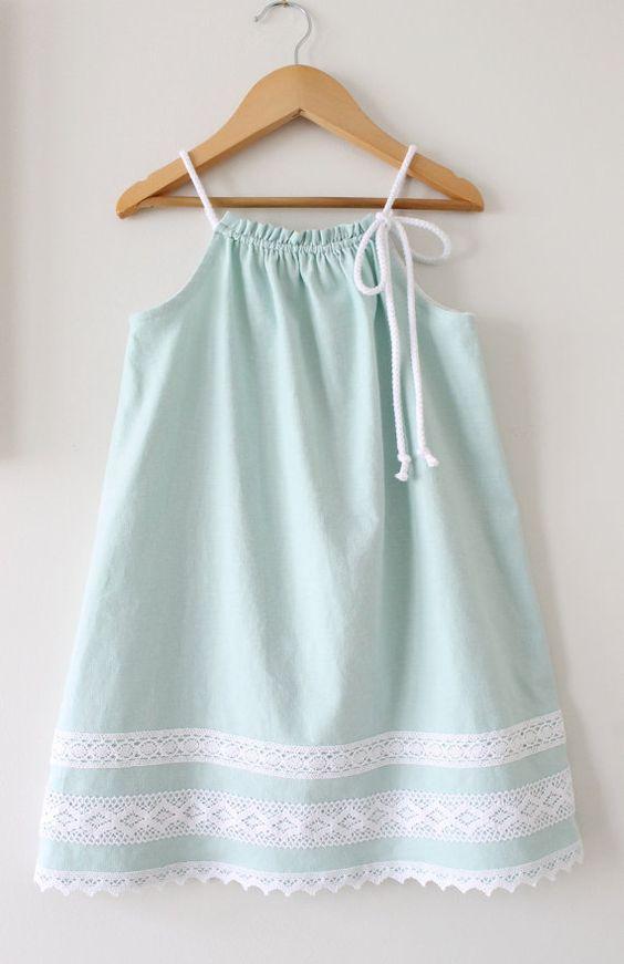 Toddler Girls Linen Dress Seafoam Green Summer by ChasingMini: