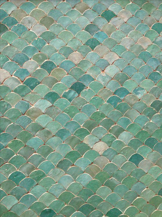 Aqua fish scale tiles
