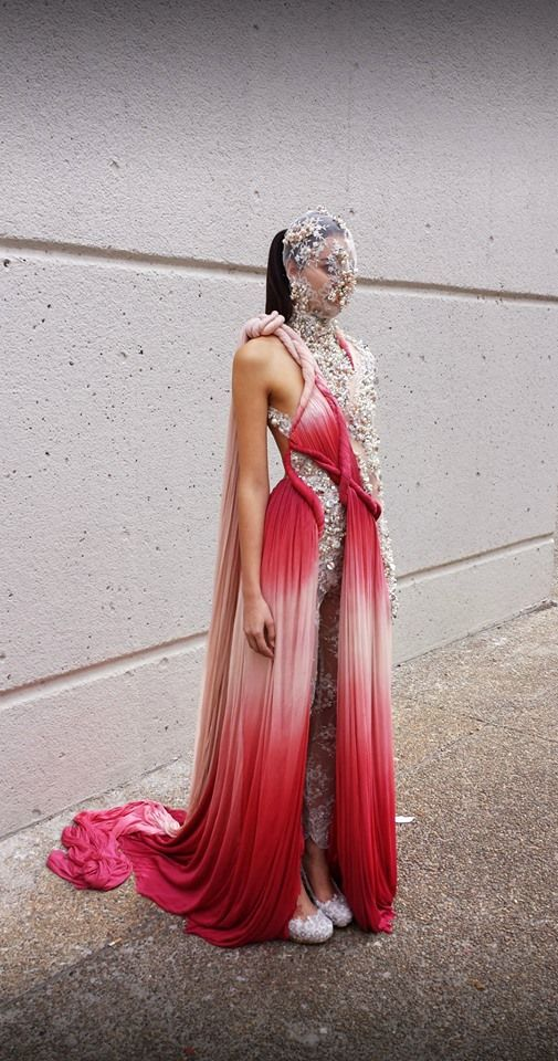 Maasai x Medici inspired couture evening gown  http://yousefakbar.com #fashion  #style #womenswear #gown #dress #couture #african #yousefakbar #silk #red #pearls