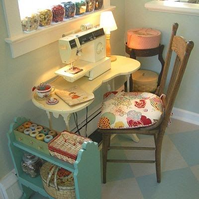 Create this little sewing corner in the sittting room!  Also put the tomato pin cushion in a tea cup like shown in this cozy setting.