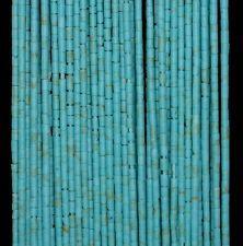 "1MM TURQUOISE GEMSTONE BLUE ROUND TUBE HEISHI 1MM LOOSE BEADS 14.5"""