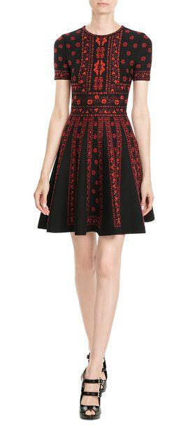 Alexander McQueen - Wool and Silk Intarsia Dress | STYLEBOP.com