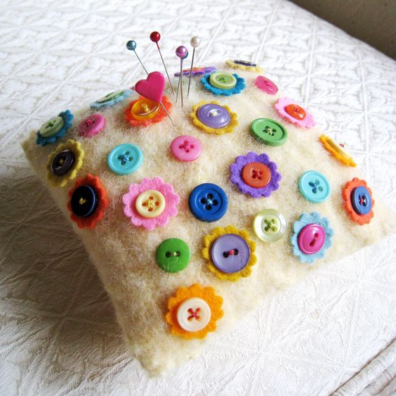 Felted Wool Pincushion with Button Flowers in Candy Colors Pin