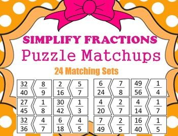 math worksheet : simplify fraction puzzles math center 24 puzzle pieces to match  : Fractions Puzzle Worksheet