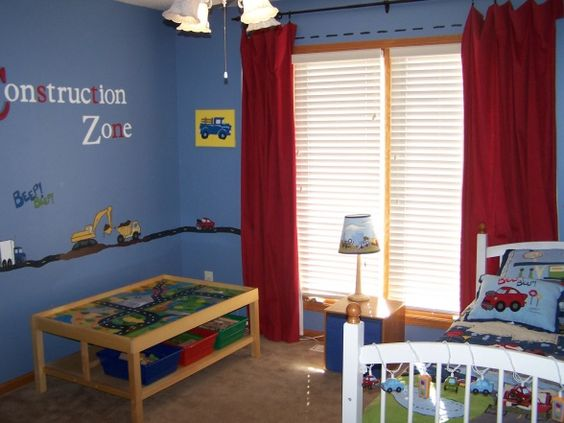 Construction decor for boys room and construction for Boys construction bedroom ideas