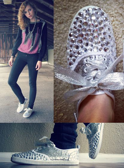 DIY Bedazzled and Glittered Shoes! :)