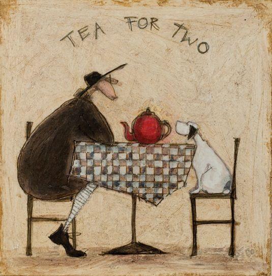 SAM TOFT - TEA FOR TWO STRETCHED BOX CANVAS ART PRINT 40cm x 40cm