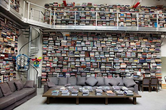 Interesting way to put books on shelves